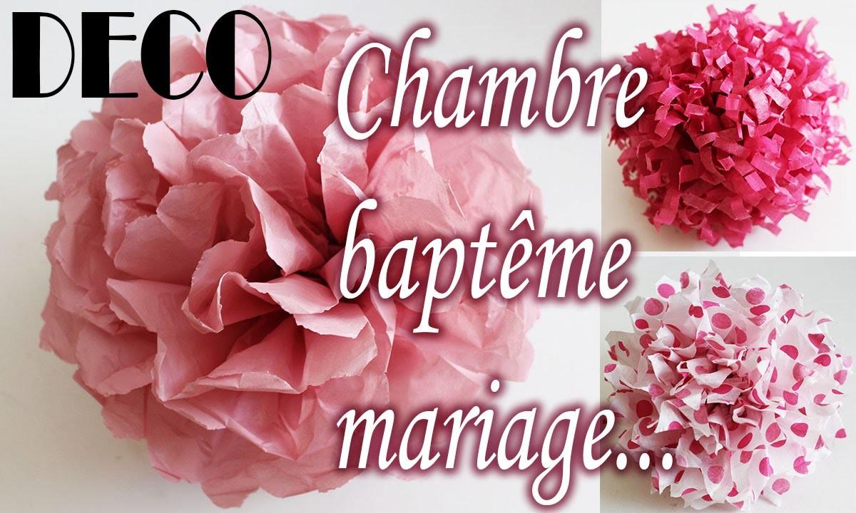 ✎ TUTO déco clair, fleur papier soie, chambre, baptême, mariage, etc.