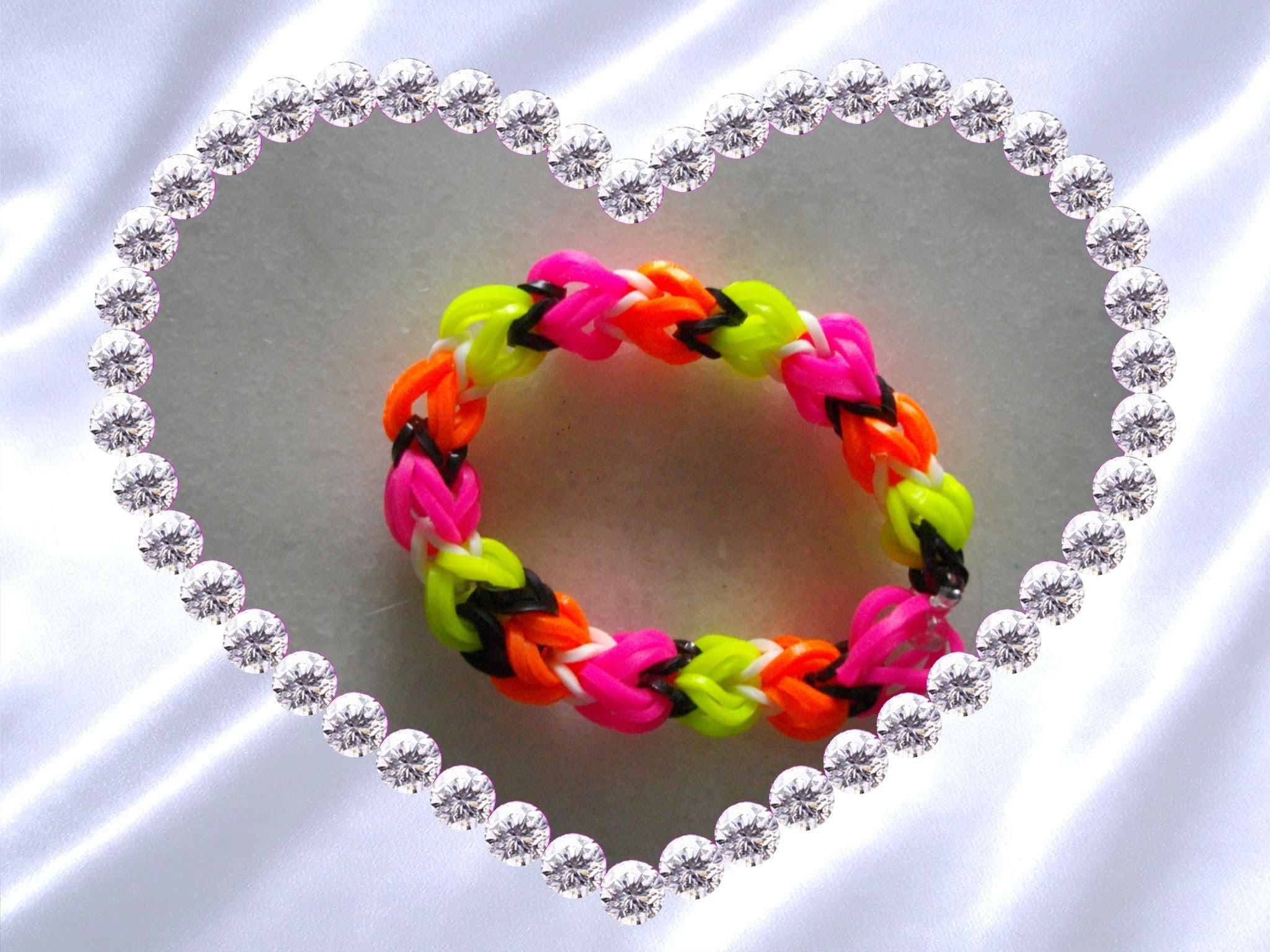RAINBOW LOOM- bracelet 3 côté EN FRANCAIS - INEDIT- quadrafish