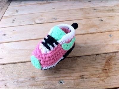 Baskets Nike bébé au crochet 3. Baby sneakers Nike crochet tutorial 3