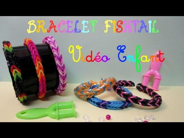 VIDEO ENFANT - Bracelet en Elastique Fishtail Rainbow Loom - simple