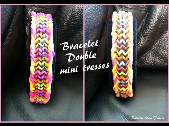 Bracelet Double mini tresses  Rainbow loom® Tutoriel Français (Niveau Intermédiaire)