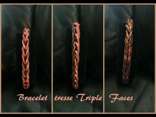 Bracelet tresse triple faces Rainbow loom® Tutoriel Français (Niveau Débutant)