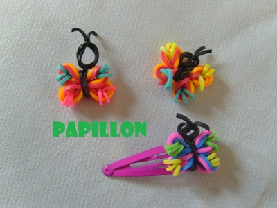 Papillon en élastiques. Tuto francais bracelet elastique,rainbow loom bands