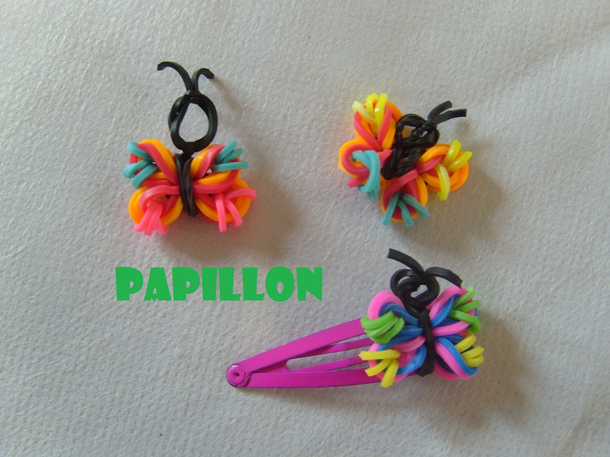 papillon en lastiques tuto francais bracelet elastique rainbow loom bands. Black Bedroom Furniture Sets. Home Design Ideas