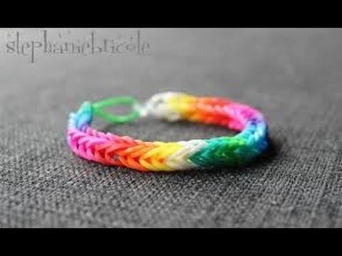 Rainbow loom couleur arcenciel en forme carré TUTO ( français )
