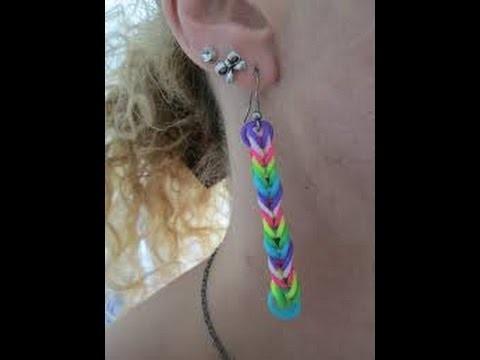 Boucle d'oreille créole en élastique rainbow loom
