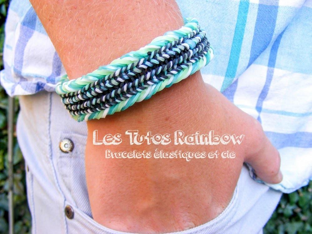 Rainbow Loom, manchette élastique tutoriel Français.