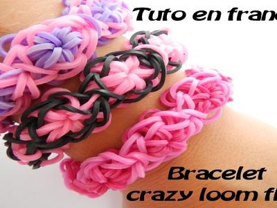 Faire un bracelet crazy loom fleur pâquerette. (rainbow flower) tuto en français