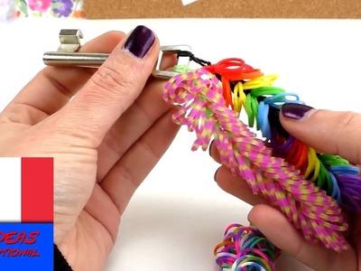 Porte-clés loom, création et confection DIY, avec élastiques, multicolore