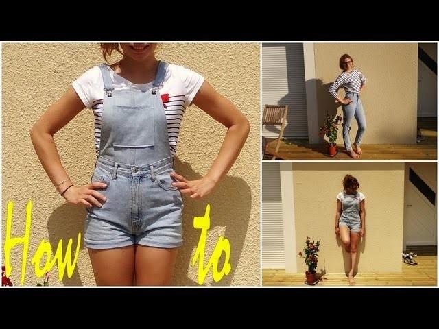 ✄- How to n°5┆Transformer un pantalon en une courte salopette .  !