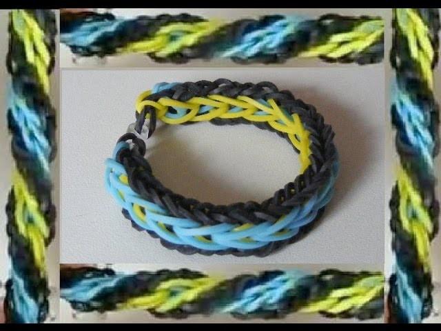 Bracelet élastique plat réversible: 1 couleur différente par coté (facile) --TUTO--