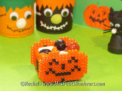Tuto Bricolage Halloween - Panier Citrouille en perles Hama