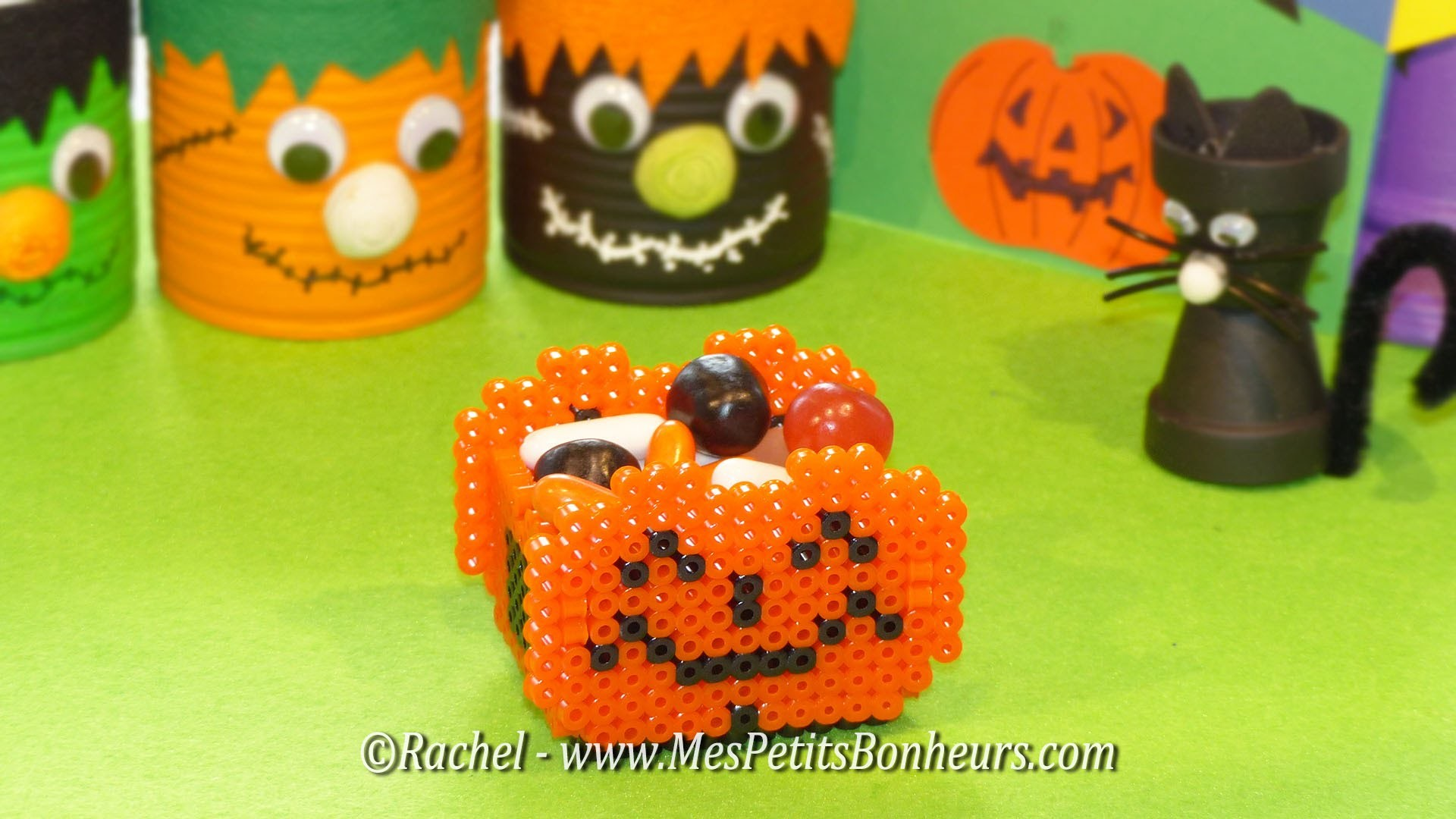 tuto bricolage halloween panier citrouille en perles hama. Black Bedroom Furniture Sets. Home Design Ideas