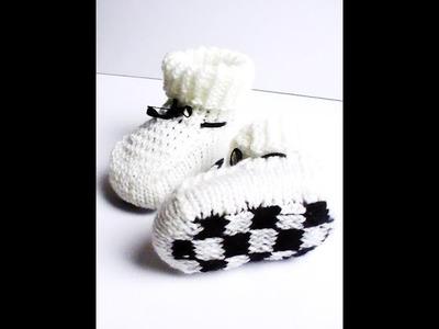 """Tricot chaussons bébé """"damier"""" tuto"""