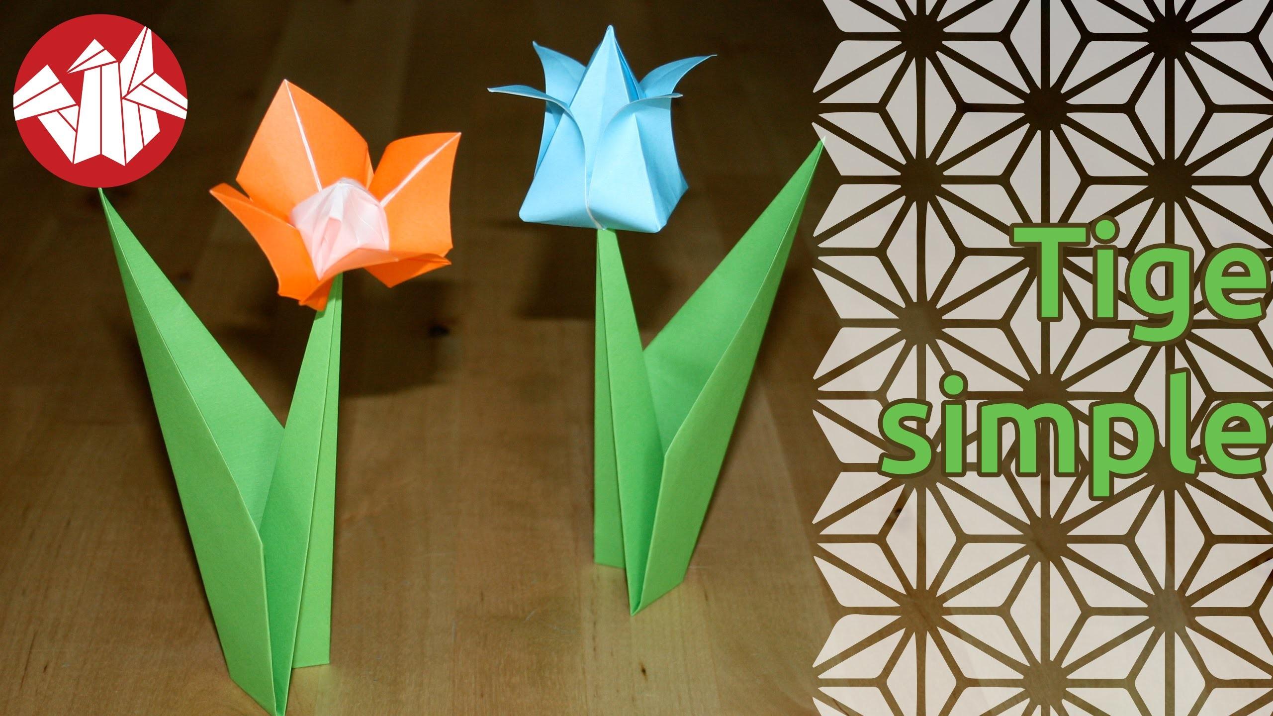 Origami - Tige simple pour fleur - Flower stem [Senbazuru]