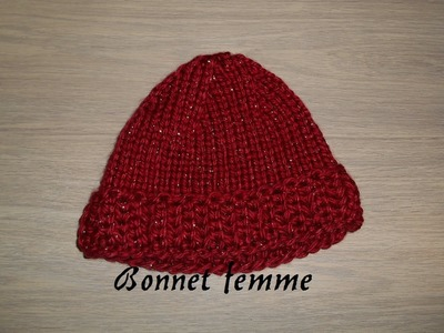 Tricoter bonnet femme facile, knitting easy hat