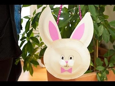 Bricolage de Pâques DIY : panier lapin pour la chasse aux oeufs.