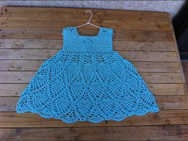 Robe ananas fille crochet partie 2. vestido pinas crochet parte 2