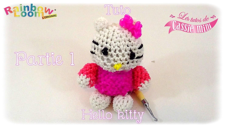 { Tuto } hello kitty  en élastique Rainbow loom partie 1