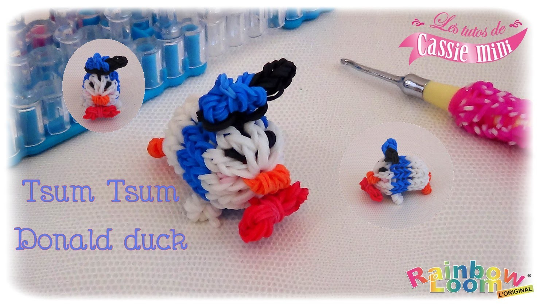 { Tuto } Tsum tsum Donald Duck en élastique Rainbow Loom