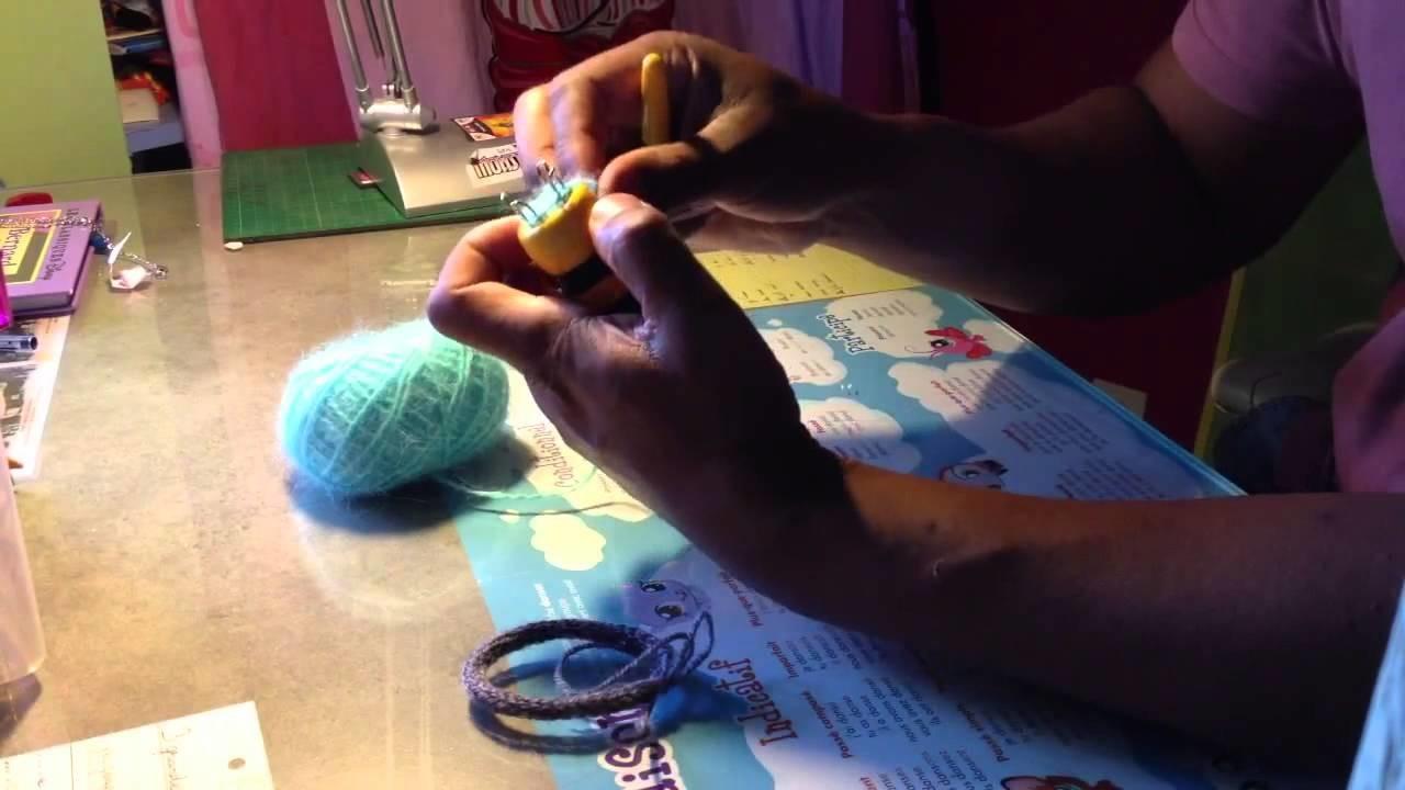 Fabriquer un bracelet avec un tricotin    bijoux maison