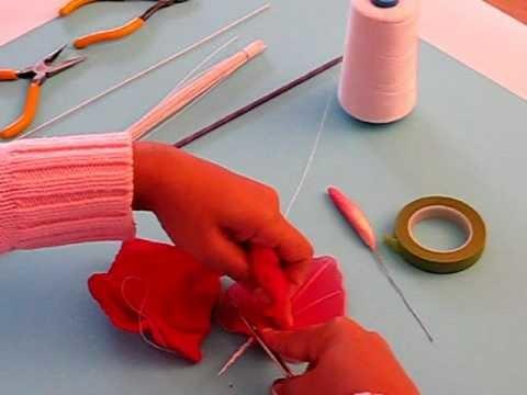 Fabrication d'un anthurium en collant. Nylon Anthurium