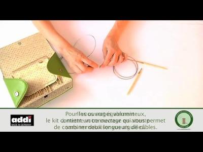 Kit d'aiguilles circulaires à embouts interchangeable Addi-click Bambou