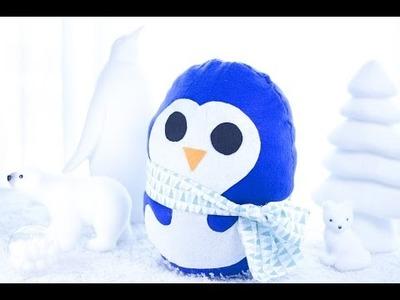 DIY Noël - Réaliser un Coussin original en forme de Pingouin