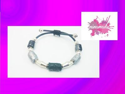 DIY.Bracelet avec des perles en  pâte à modeler.