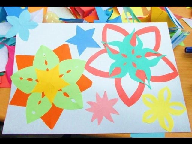 DIY: How to make paper flowers and stars. Comment faire des fleurs et des étoiles en papier