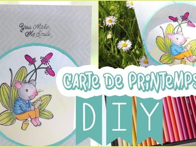 DIY # TUTO SCRAP Carte de printemps - Prismacolor