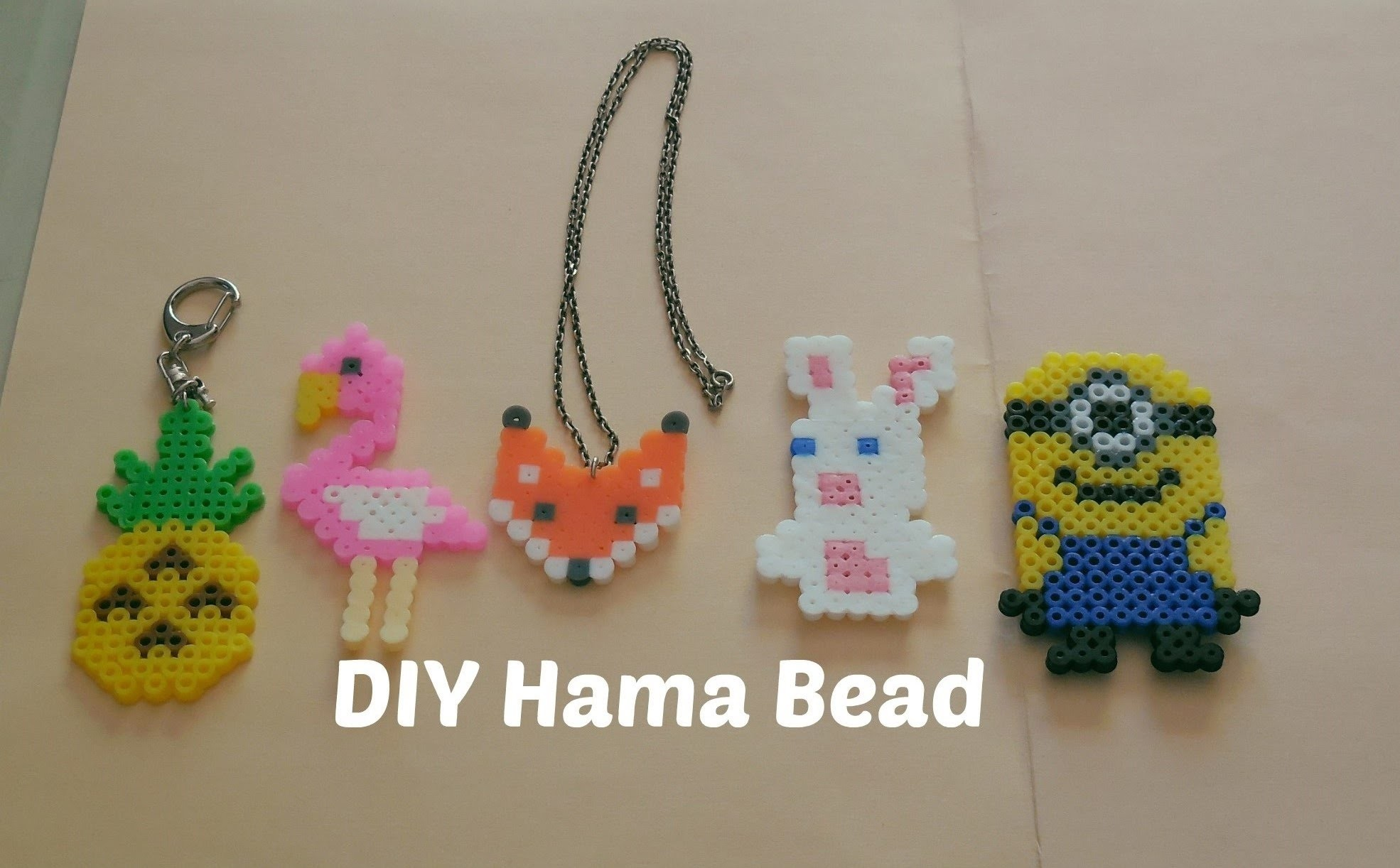 [ DIY ] Perles à repasser hama.Perler beads pattern (Fox-Pineapple-Flamingo-Minion-Lapin crétin)