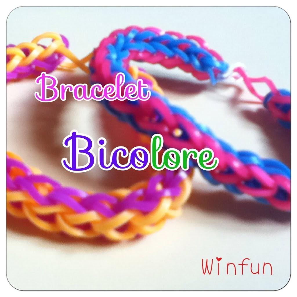 Tuto rainbow loom bracelet bicolore (français)
