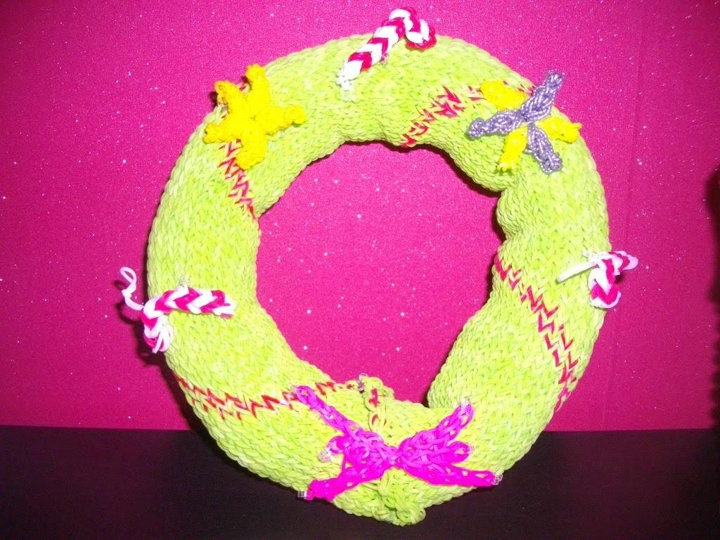 Couronne de noel rainbow loom- Christmas wreath-Weihnachtskranz-kerstkrans