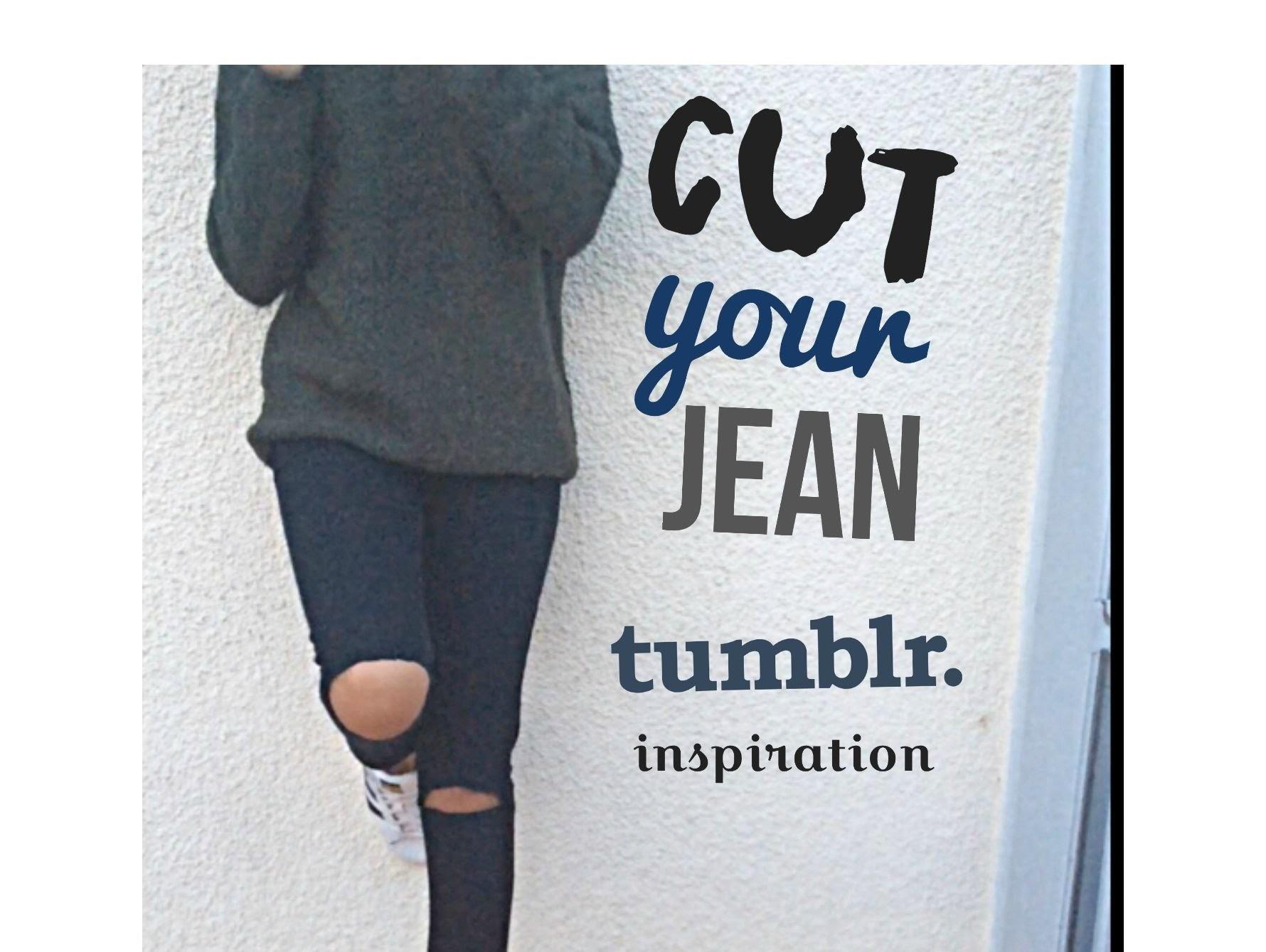 DIY Jeans déchiré.how to cut your jean ! tumblr inspiration !