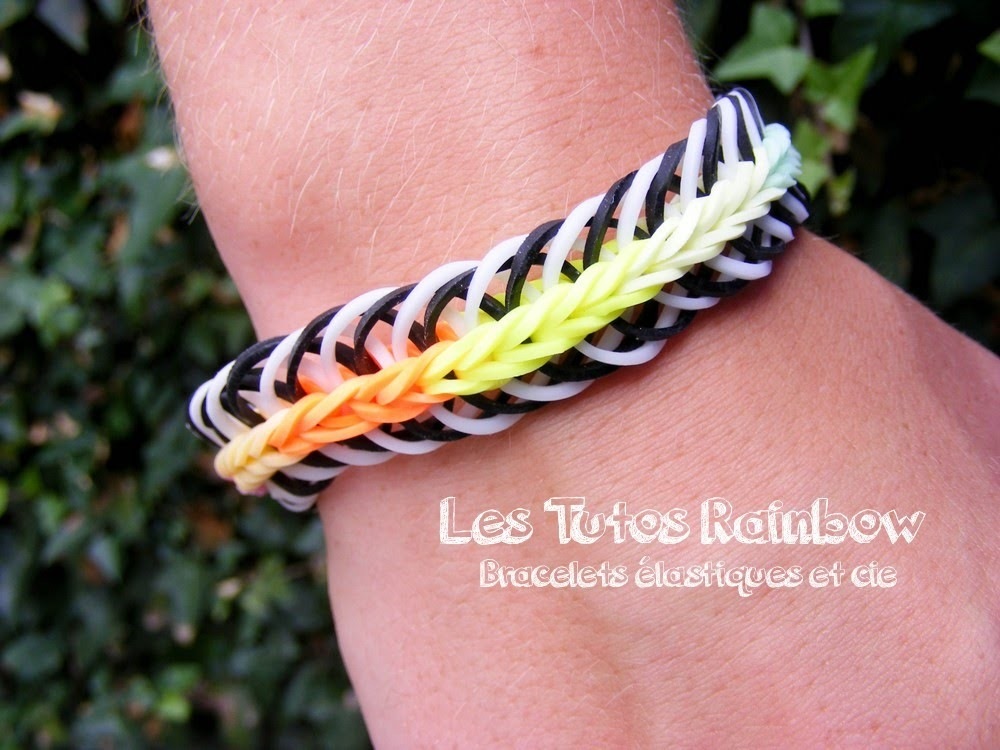 Bracelet Rainbow Black&White, Rainbow Loom, tutoriel français.