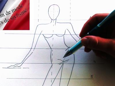 APPRENDRE à faire un DESSIN de MODE - dessin de STYLISTE  ( leçon 1 )