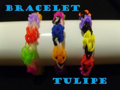 Bracelet elastique tulipe, tuto francais, rainbow loom bands
