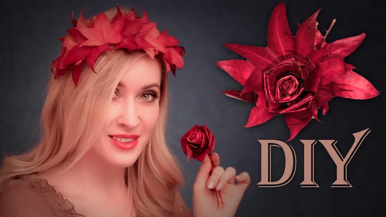 DIY decorations maison.cheveux ✿ FLEUR + ROSE + COURONNE des feuilles d'erable