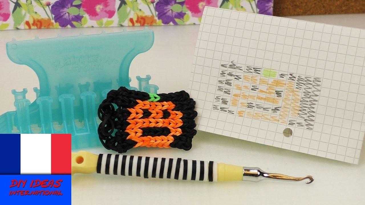 Potiron d'Halloween en loom. Loom alpha multicolore. Porte-clés rigolo