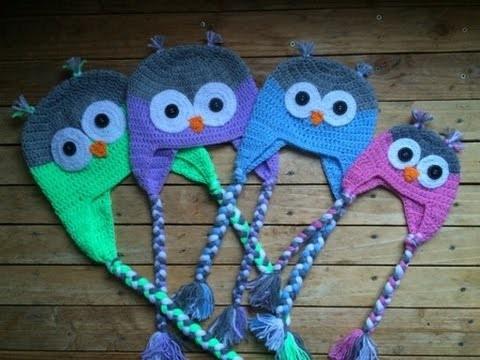 Tuto crochet: Bonnet Hibou (toutes tailles). Owl beanies knitting (all sizes)