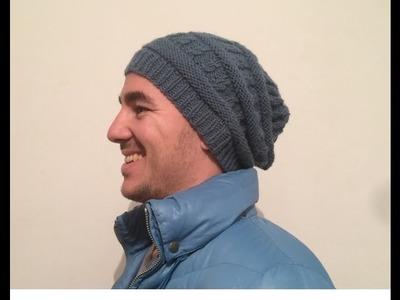 Tuto tricot : Bonnet homme torsades. Knitting beanie man easy