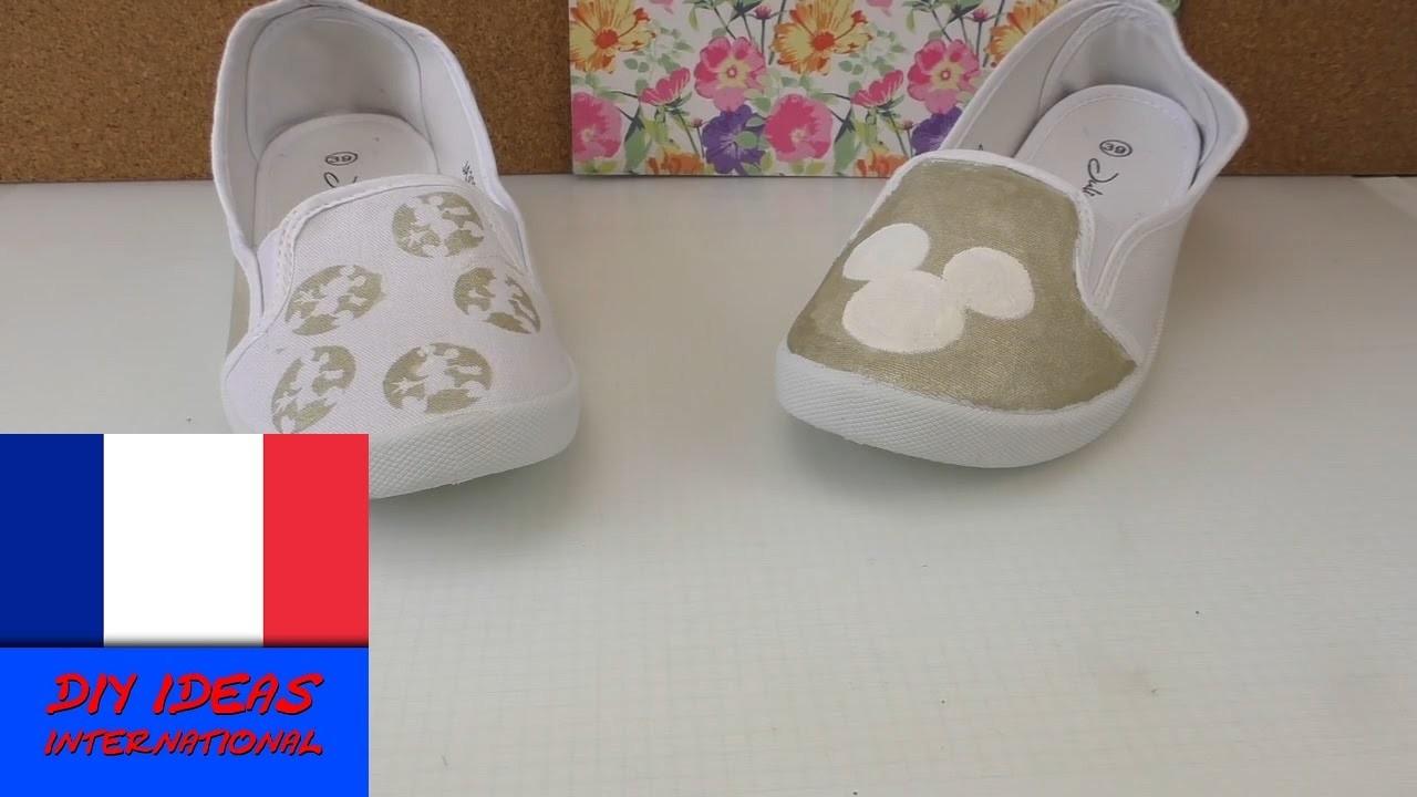 Chaussures Mickey Mouse DIY. Colorer des chaussures. 2 idées de motif Disney
