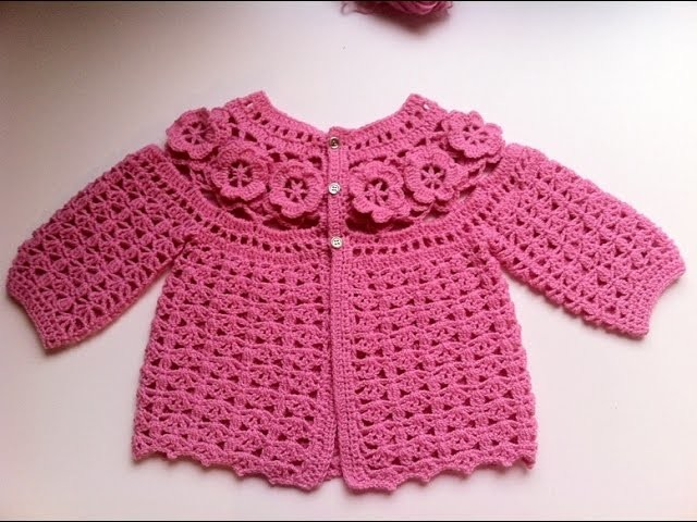 Brassière bébé à fleurs crochet 3. baby sweaters flowers crochet 3
