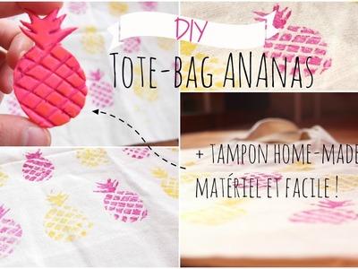 DIY - Tote Bag ananas + CRÉER SOI-MÊME SON TAMPON SANS KIT! | Facile & rapide