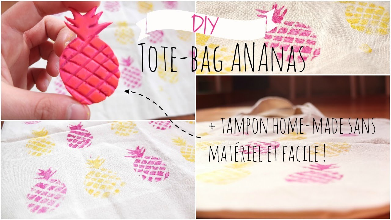 diy tote bag ananas cr er soi m me son tampon sans kit facile rapide. Black Bedroom Furniture Sets. Home Design Ideas