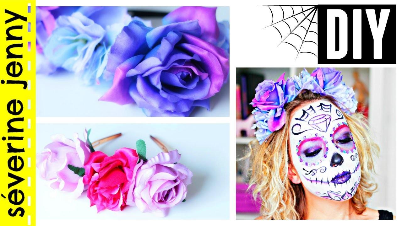 DIY français Halloween : Couronne de fleurs Sugar Skull