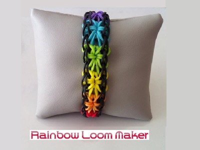 TUTO FR.EN ! Rainbow loom bracelet starburst model - 6 stars. 6 étoiles