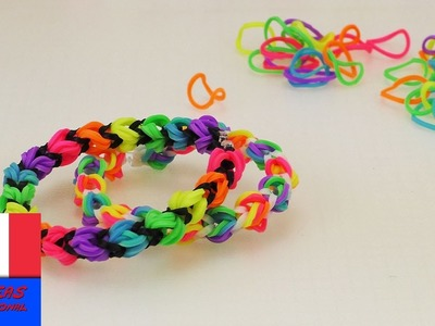 Bracelet en loom multicolore. Elastiques normaux et alpha. Bracelet d'amitié