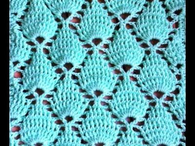 Crochet : Point feuille en relief. Crochet punto fantasia